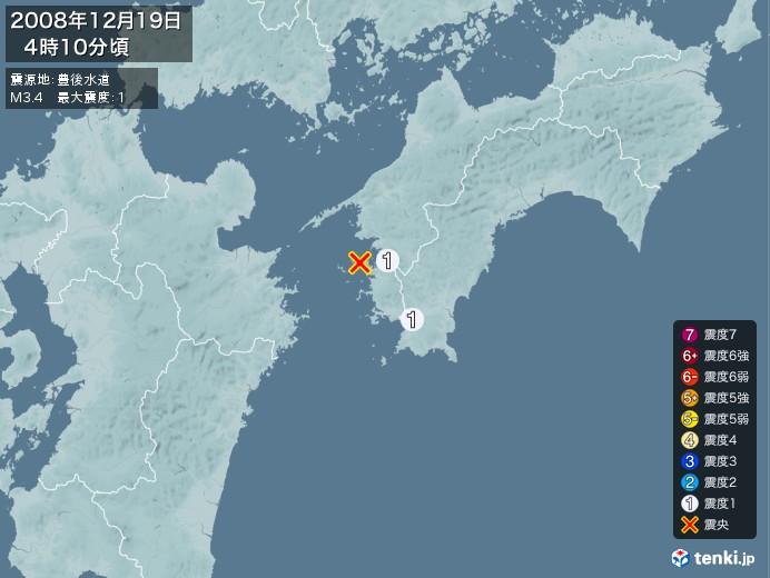 地震情報(2008年12月19日04時10分発生)