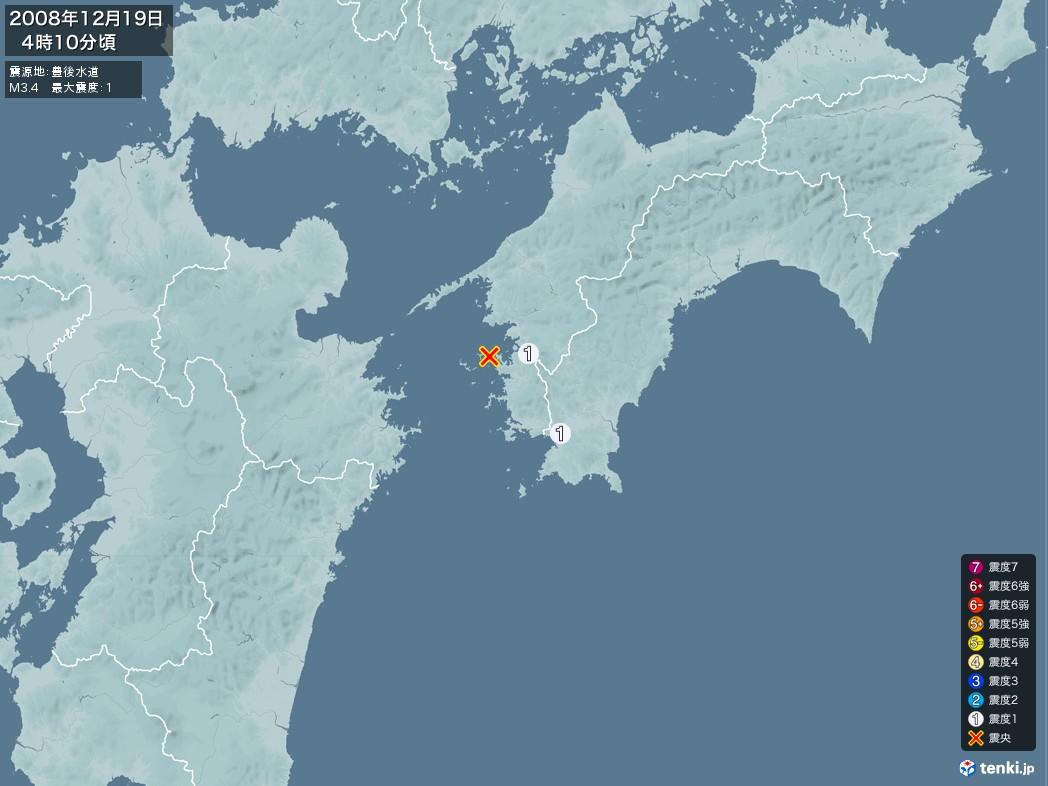 地震情報 2008年12月19日 04時10分頃発生 最大震度:1 震源地:豊後水道(拡大画像)
