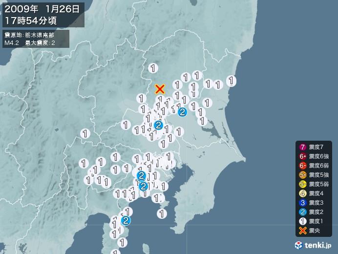 地震情報(2009年01月26日17時54分発生)