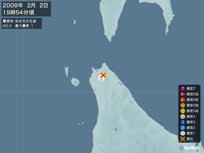 地震情報(2009年02月02日19時54分発生)
