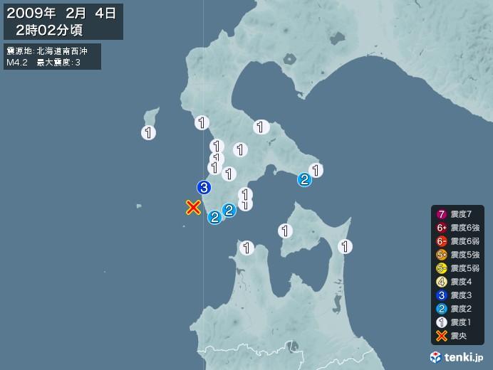 地震情報(2009年02月04日02時02分発生)