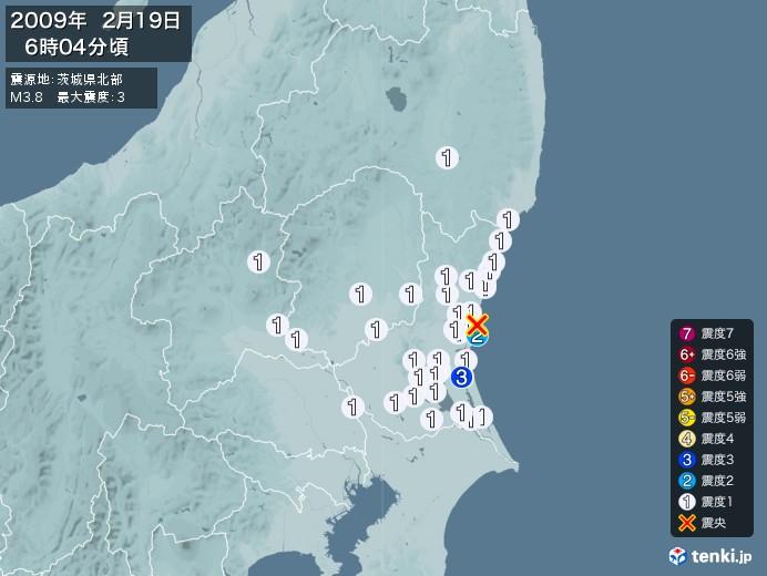 地震情報(2009年02月19日06時04分発生)
