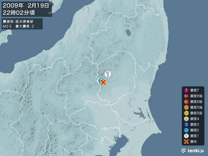 地震情報(2009年02月19日22時02分発生)