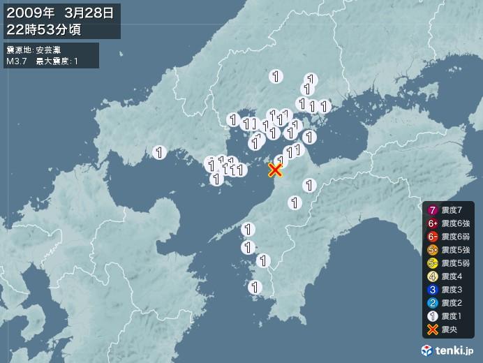 地震情報(2009年03月28日22時53分発生)