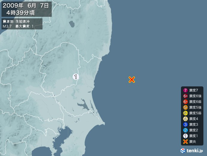 地震情報(2009年06月07日04時39分発生)