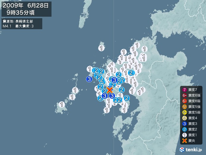 地震情報(2009年06月28日09時35分発生)