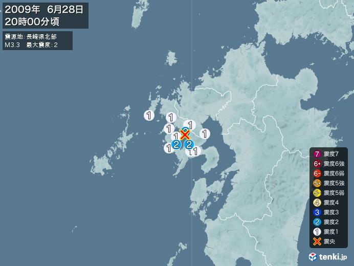 地震情報(2009年06月28日20時00分発生)