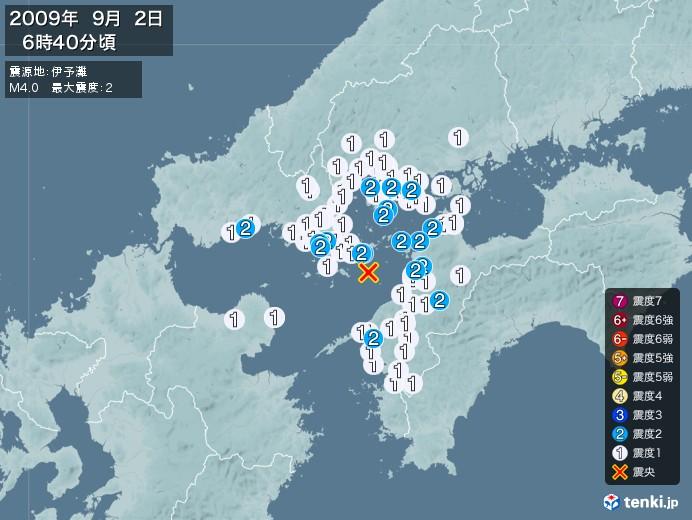地震情報(2009年09月02日06時40分発生)
