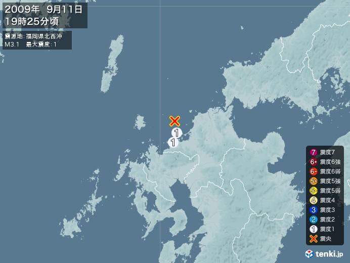地震情報(2009年09月11日19時25分発生)