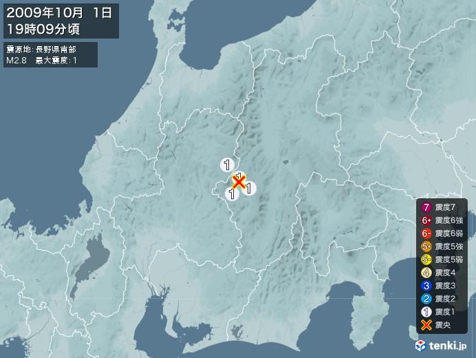 地震情報(2009年10月01日19時09分発生)
