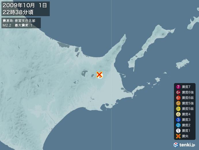 地震情報(2009年10月01日22時38分発生)