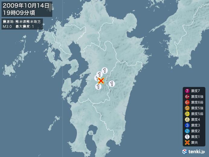 地震情報(2009年10月14日19時09分発生)