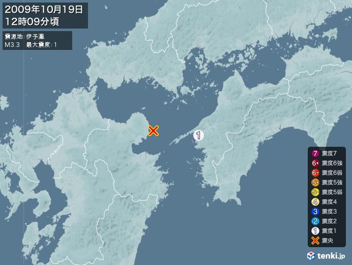 地震情報(2009年10月19日12時09分発生)
