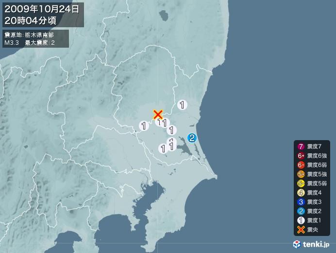 地震情報(2009年10月24日20時04分発生)