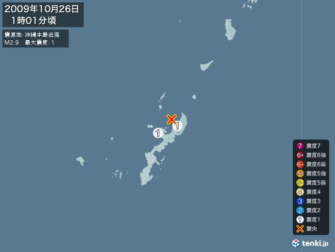 地震情報(2009年10月26日01時01分発生)