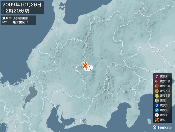 地震情報(2009年10月26日12時20分発生)