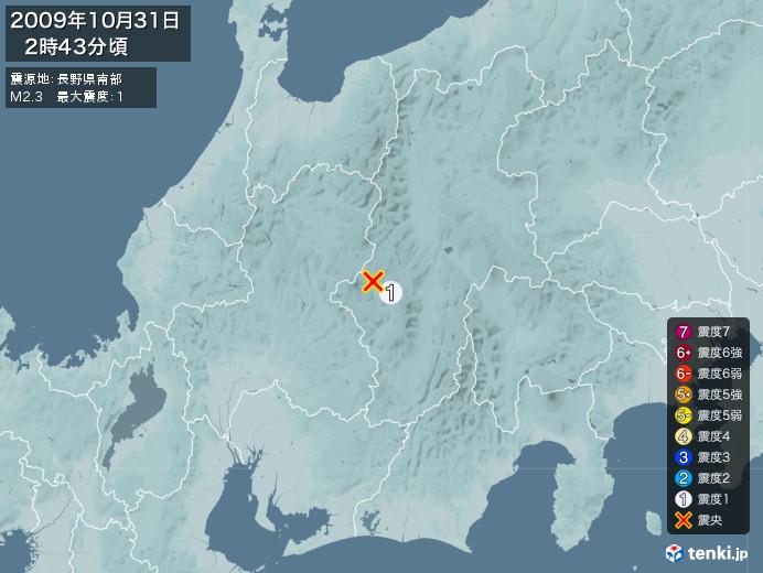 地震情報(2009年10月31日02時43分発生)
