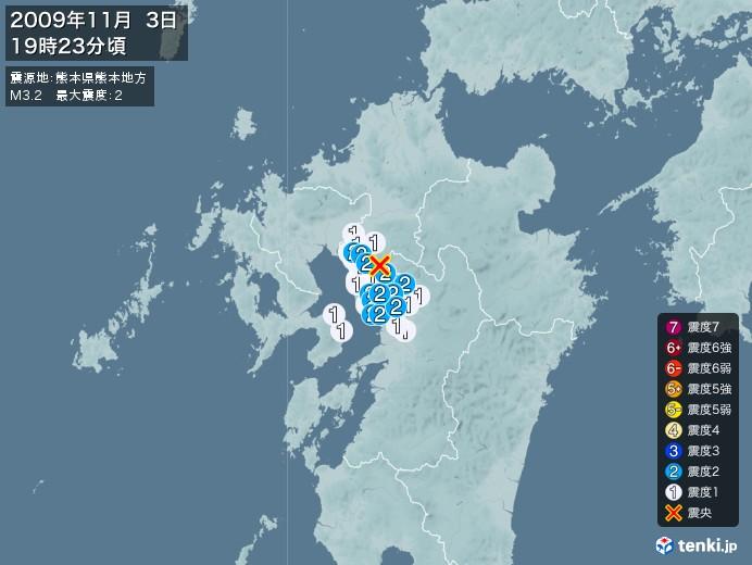 地震情報(2009年11月03日19時23分発生)