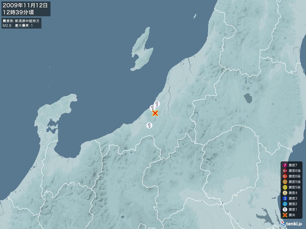 地震情報 2009年11月12日 12時39分頃発生 最大震度:1 震源地:新潟県中越地方(拡大画像)