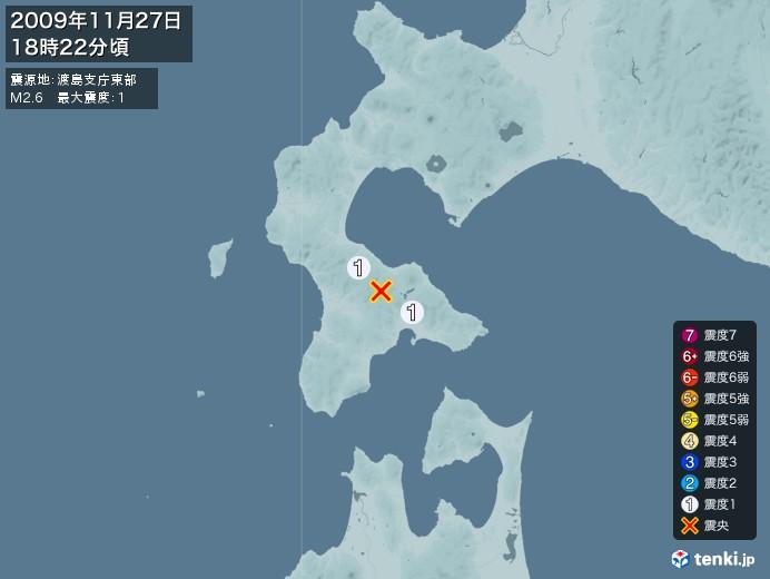 地震情報(2009年11月27日18時22分発生)