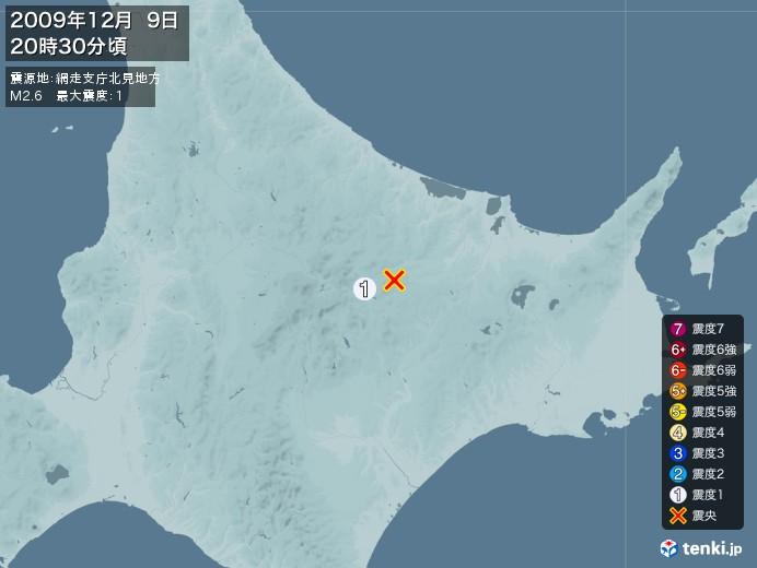 地震情報(2009年12月09日20時30分発生)