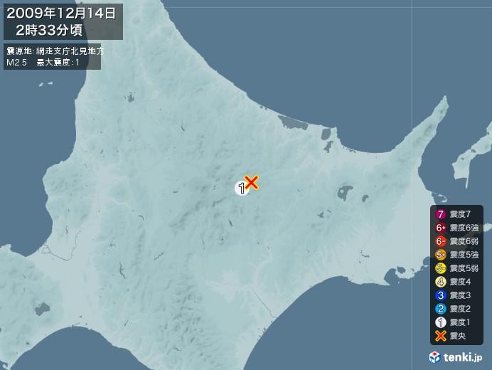 地震情報(2009年12月14日02時33分発生)