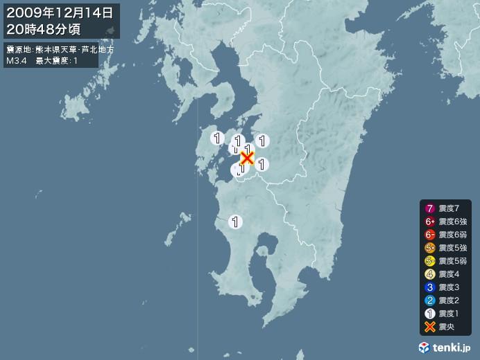 地震情報(2009年12月14日20時48分発生)