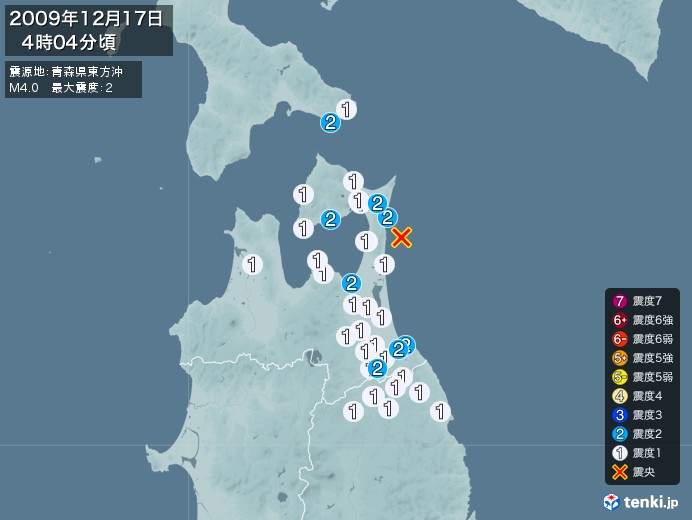 地震情報(2009年12月17日04時04分発生)