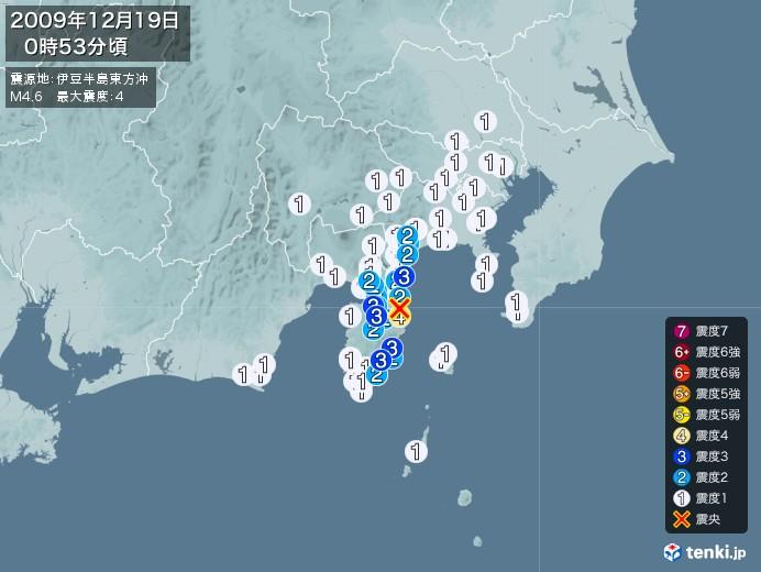 地震情報(2009年12月19日00時53分発生)