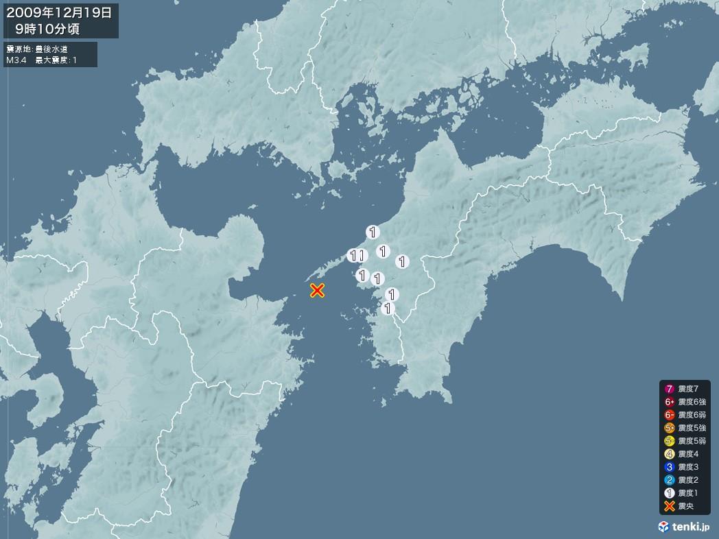 地震情報 2009年12月19日 09時10分頃発生 最大震度:1 震源地:豊後水道(拡大画像)