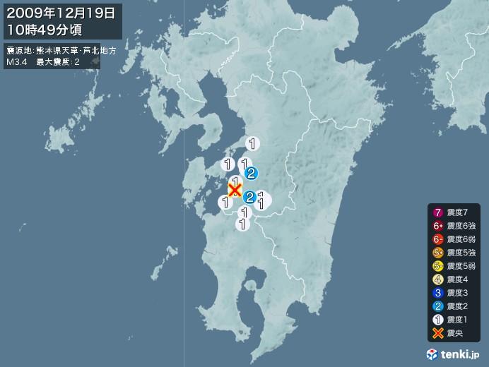 地震情報(2009年12月19日10時49分発生)