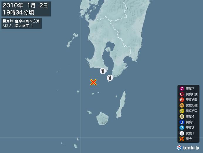 地震情報(2010年01月02日19時34分発生)
