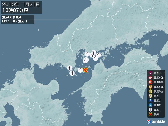 地震情報(2010年01月21日13時07分発生)