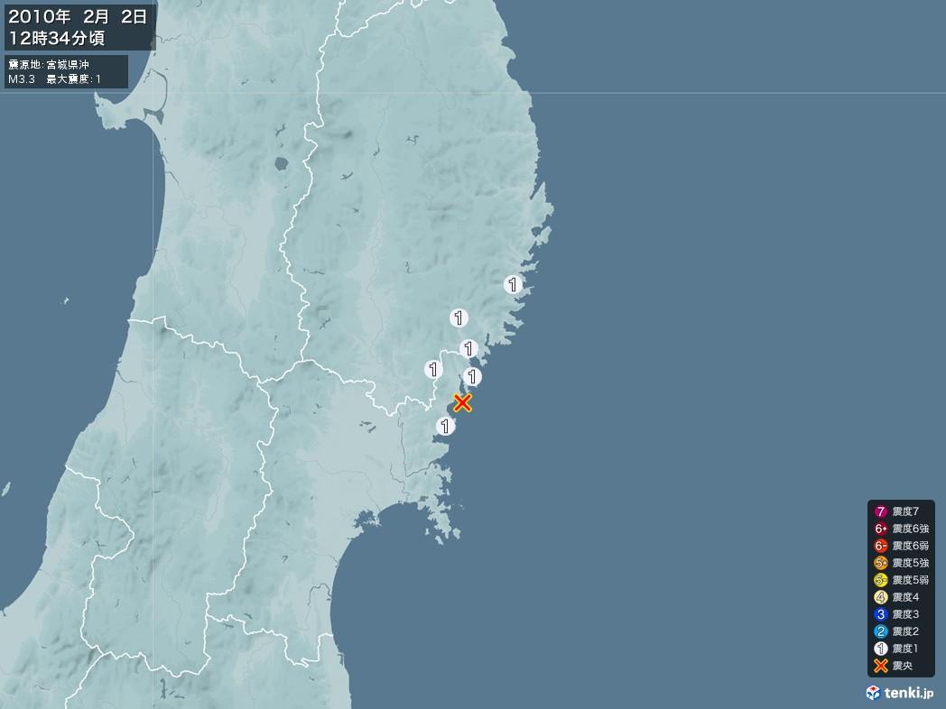 地震情報 2010年02月02日 12時34分頃発生 最大震度:1 震源地:宮城県沖(拡大画像)