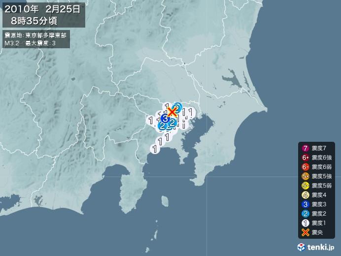 地震情報(2010年02月25日08時35分発生)