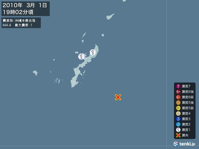 地震情報(2010年03月01日19時02分発生)