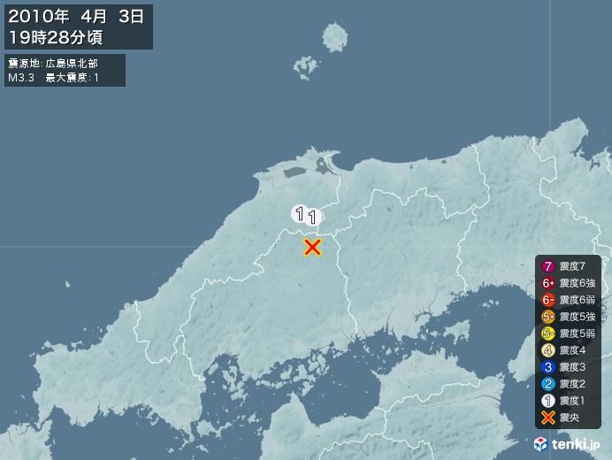 地震情報(2010年04月03日19時28分発生)