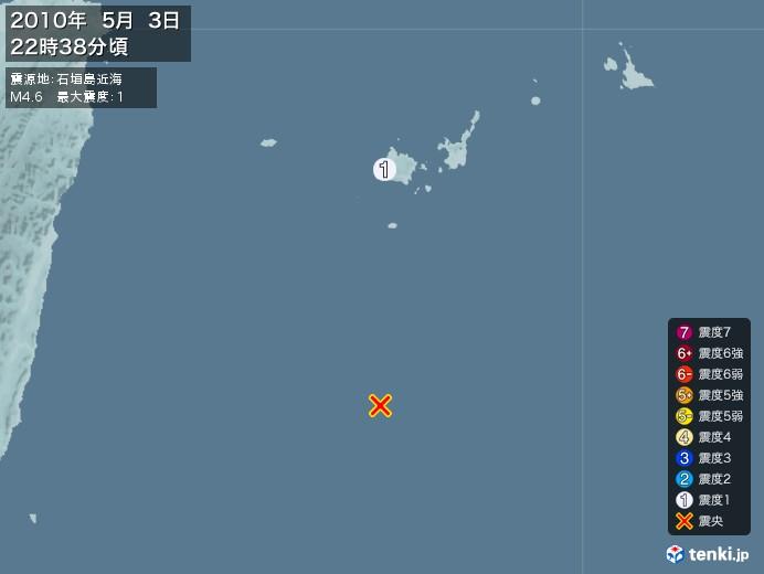 地震情報(2010年05月03日22時38分発生)