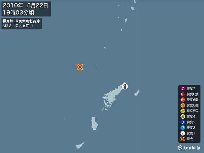 地震情報(2010年05月22日19時03分発生)
