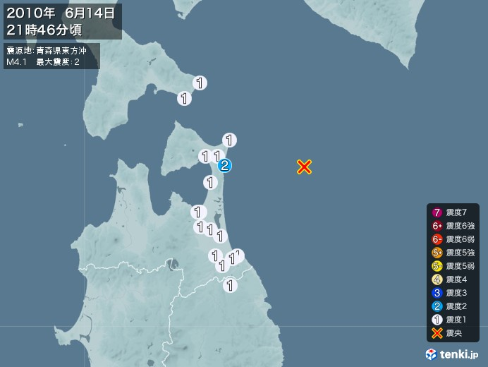 地震情報(2010年06月14日21時46分発生)