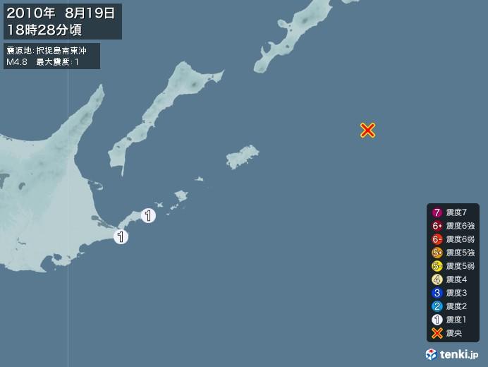地震情報(2010年08月19日18時28分発生)