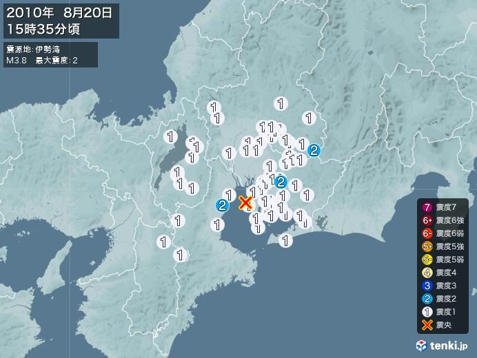 地震情報(2010年08月20日15時35分発生)