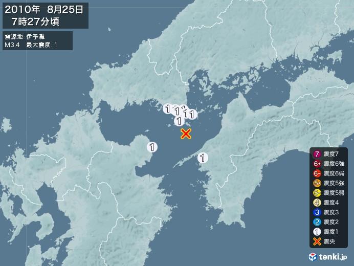 地震情報(2010年08月25日07時27分発生)