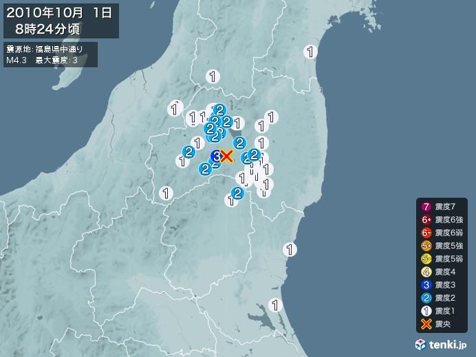 地震情報(2010年10月01日08時24分発生)