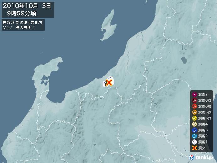 地震情報(2010年10月03日09時59分発生)