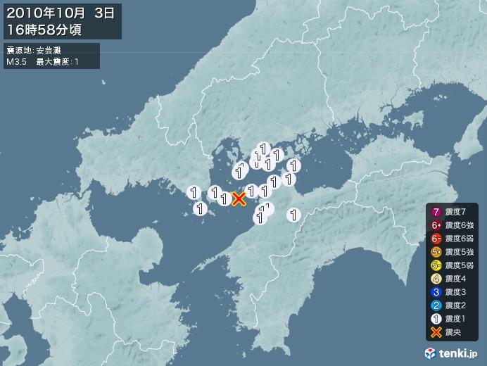 地震情報(2010年10月03日16時58分発生)