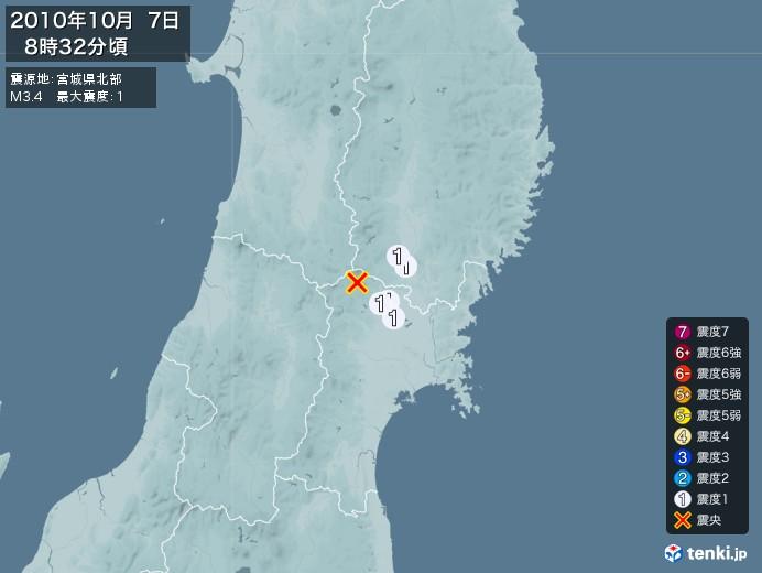 地震情報(2010年10月07日08時32分発生)