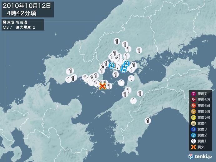 地震情報(2010年10月12日04時42分発生)