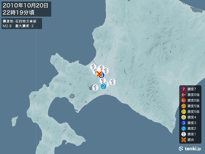 地震情報(2010年10月20日22時19分発生)