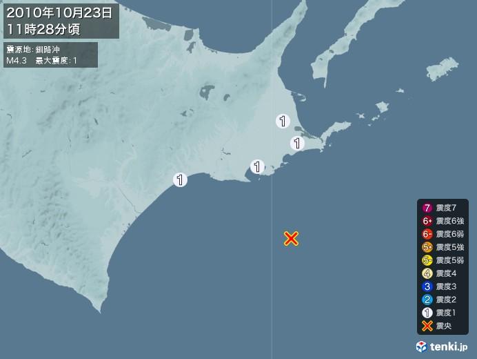 地震情報(2010年10月23日11時28分発生)